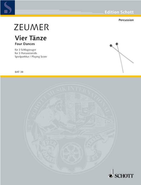 4 Danses Zeumer, Gerhard Performance Score 3 Percussionr (1. Player: Xylophone,-afficher Le Titre D'origine Bas Prix